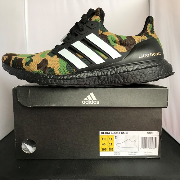 hot sale online f39af bd586 BAPE x Adidas Ultra Boost 4.0 Green Camo NWT